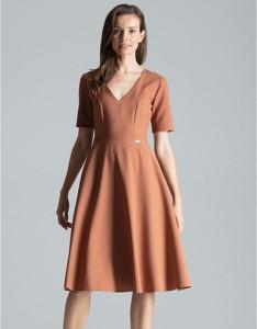 Brązowa sukienka Figl z krótkim rękawem