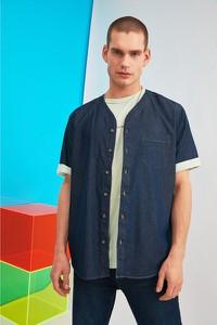 Niebieska koszula Trendyol z krótkim rękawem z klasycznym kołnierzykiem w stylu casual