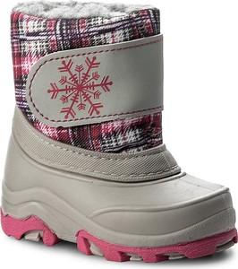 Wielokolorowe buty dziecięce zimowe manitu dla dziewczynek w kratkę z tworzywa sztucznego