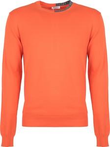 Pomarańczowy sweter ubierzsie.com z okrągłym dekoltem w stylu casual z tkaniny