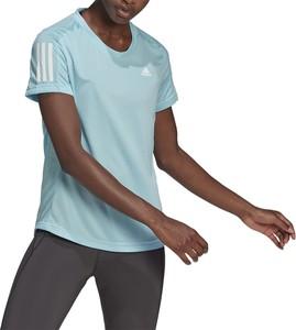 Niebieska bluzka Adidas w sportowym stylu z okrągłym dekoltem