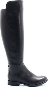 Czarne kozaki Kotyl w stylu klasycznym za kolano z płaską podeszwą
