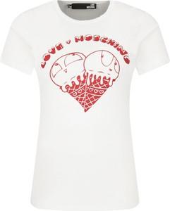 T-shirt Love Moschino w młodzieżowym stylu z nadrukiem