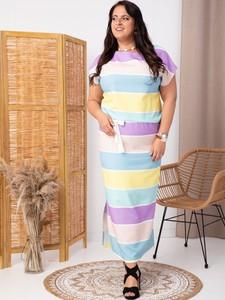 Sukienka KARKO z tkaniny z okrągłym dekoltem