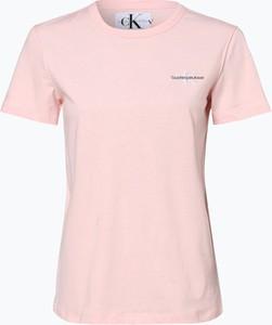 Różowy t-shirt Calvin Klein z dżerseju z krótkim rękawem