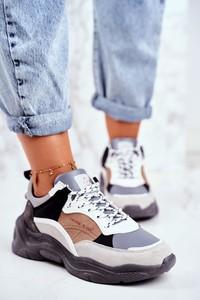 Buty sportowe Cross Jeans z płaską podeszwą ze skóry ekologicznej