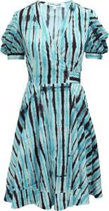Niebieska sukienka Diane Von Furstenberg Vintage z bawełny z krótkim rękawem
