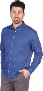 Fioletowa koszula Tommy Hilfiger z długim rękawem z kołnierzykiem button down