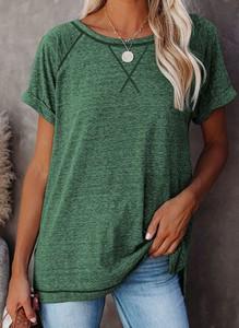Zielony t-shirt Sandbella z okrągłym dekoltem z krótkim rękawem w stylu casual