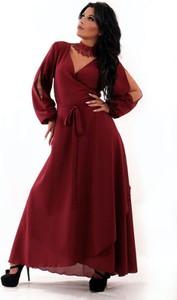 Czerwona sukienka Oscar Fashion z dekoltem w kształcie litery v z szyfonu