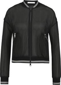 Czarna kurtka Boss z jedwabiu krótka w rockowym stylu