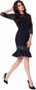 Czarna sukienka POTIS & VERSO z długim rękawem midi z okrągłym dekoltem