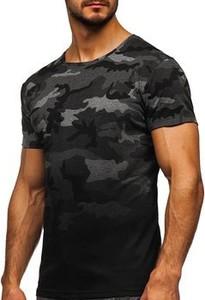 T-shirt Denley z bawełny z krótkim rękawem w militarnym stylu