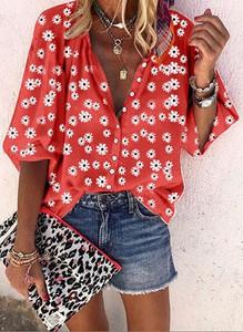 Czerwona bluzka Sandbella z długim rękawem w stylu boho