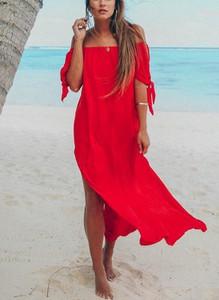 Czerwona sukienka Cikelly w stylu boho z długim rękawem