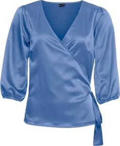 Bluzka bonprix BODYFLIRT z dekoltem w kształcie litery v z satyny