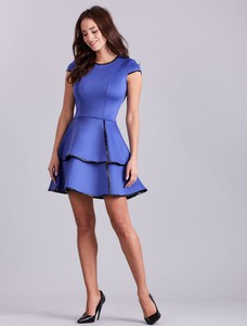 Niebieska sukienka Factory Price z neoprenu mini z okrągłym dekoltem