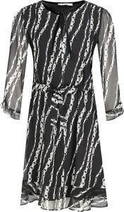 Czarna sukienka Marella z długim rękawem mini z żabotem