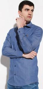 Niebieska koszula Edward Orlovski z długim rękawem w stylu casual z włoskim kołnierzykiem