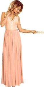 Pomarańczowa sukienka NUMOCO rozkloszowana maxi bez rękawów