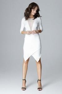 Sukienka LENITIF asymetryczna midi z długim rękawem