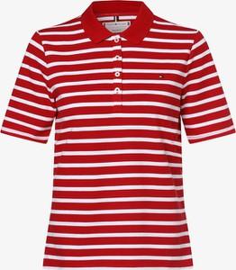 Czerwony t-shirt Tommy Hilfiger z okrągłym dekoltem z krótkim rękawem