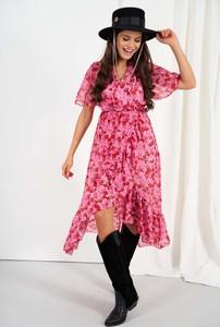 Różowa sukienka Lemoniade z dekoltem w kształcie litery v asymetryczna z krótkim rękawem