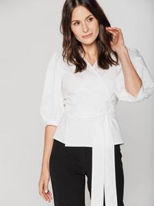 Bluzka Rabarbar z długim rękawem z okrągłym dekoltem z tkaniny