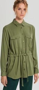 Zielona koszula Cropp w stylu casual z kołnierzykiem