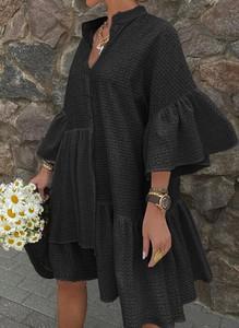 Czarna sukienka Cikelly w stylu boho z dekoltem w kształcie litery v