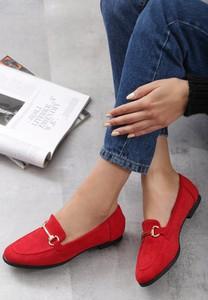Czerwone półbuty born2be w stylu casual