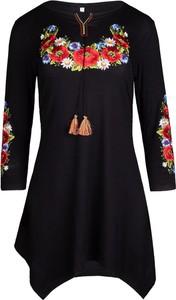 Czarna tunika JK Collection z długim rękawem ze sznurowanym dekoltem