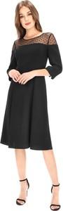 Czarna sukienka Premiera Dona z długim rękawem