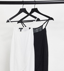 New Look Maternity – Zestaw 2 sztuk kopertowych topów na ramiączkach w kolorach czarnym i białym dla kobiet karmiących piersią-Wielokolorowy