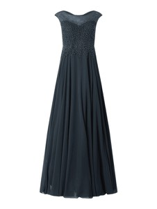 Granatowa sukienka Vera Mont z szyfonu