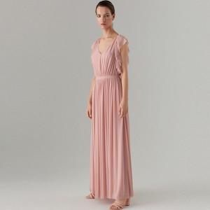 Różowa sukienka Mohito bez rękawów maxi z dekoltem w kształcie litery v