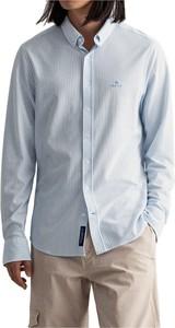 Niebieska koszula Gant z kołnierzykiem button down z bawełny z długim rękawem