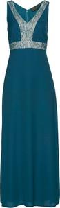 Zielona sukienka bonprix bpc selection premium z dekoltem w kształcie litery v bez rękawów