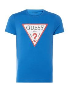 Niebieski t-shirt Guess z nadrukiem z bawełny w młodzieżowym stylu