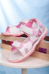 Różowe buty dziecięce letnie Casu na rzepy ze skóry