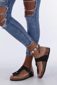 sandały skórzane z ćwiekami podeszwa z korka