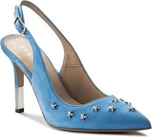 Błękitne sandały eva minge na szpilce z klamrami