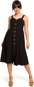 Czarna sukienka MOE z lnu midi