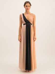 Sukienka Liu Jo Gold maxi z dekoltem w kształcie litery v