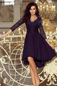 Fioletowa sukienka NUMOCO midi rozkloszowana z długim rękawem