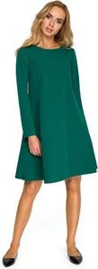 Sukienka Merg z okrągłym dekoltem z długim rękawem w stylu casual