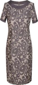 Fioletowa sukienka Prettyone z okrągłym dekoltem z krótkim rękawem