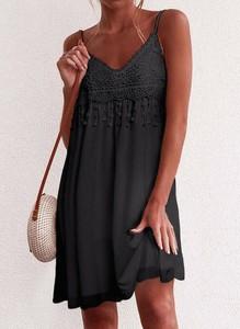 Czarna sukienka Cikelly w stylu boho mini