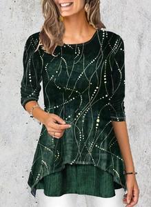 Zielona bluzka Sandbella z okrągłym dekoltem z długim rękawem