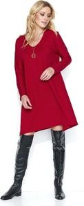 Czerwona sukienka Makadamia z dzianiny z długim rękawem midi